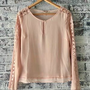 NWOT sheer, dusty rose long sleeve blouse